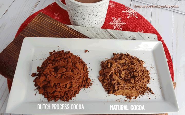 A pile of dutch process cocoa compared to natural cocoa