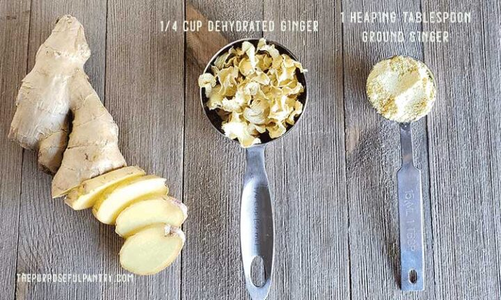 Ginger slices, ginger bits in a measuring spoon, and powdered ginger in a measuring spoon