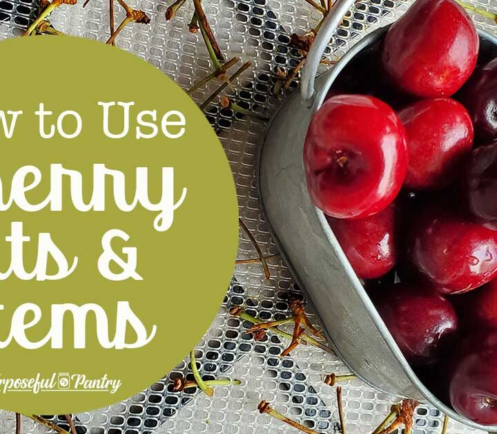 Cherries ina metal serving bowl on an Excalibur tray of dehydrated cherry stems