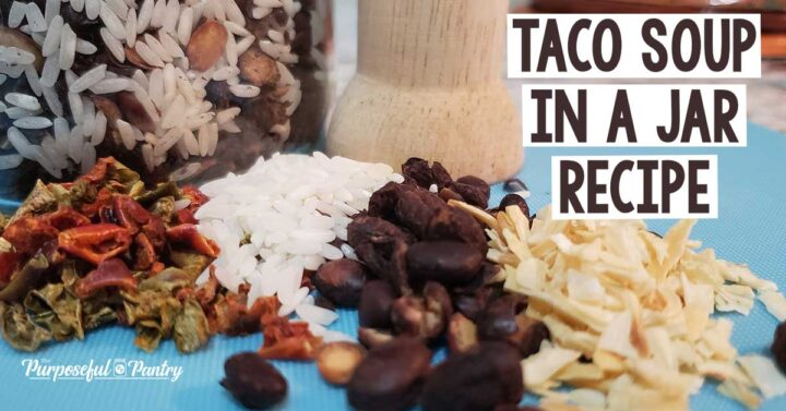Ingredients like peppers, rice, beans, dried onion slivers for Taco Soup in a Jar recipe