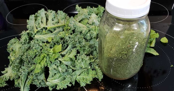 a pile of greens - kale and spinach - and a jar of dehydrated green powder