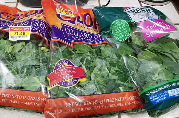 Bags of greens from the grocery store ready to be dehydrated for green powder