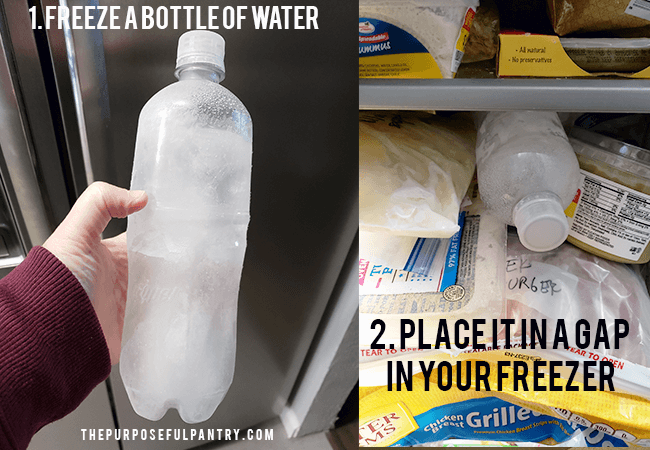Frozen bottle of water used in a freezer to help preserve in a power outage