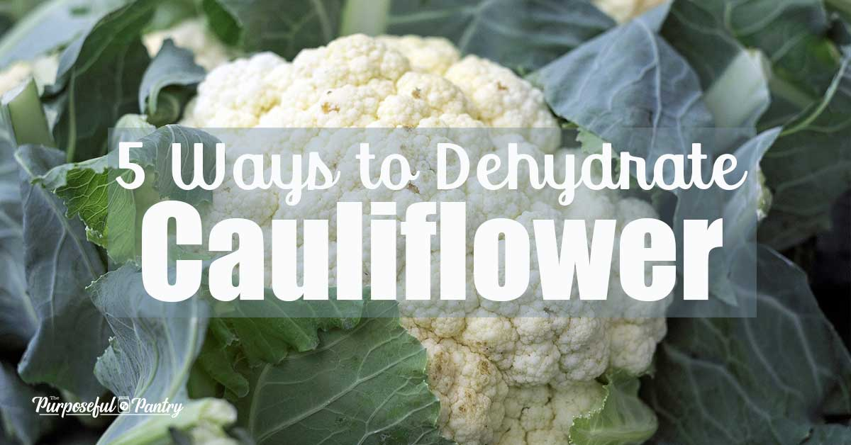 "Cauliflower with text overlay ""5 Ways to dehydrate cauliflower"""