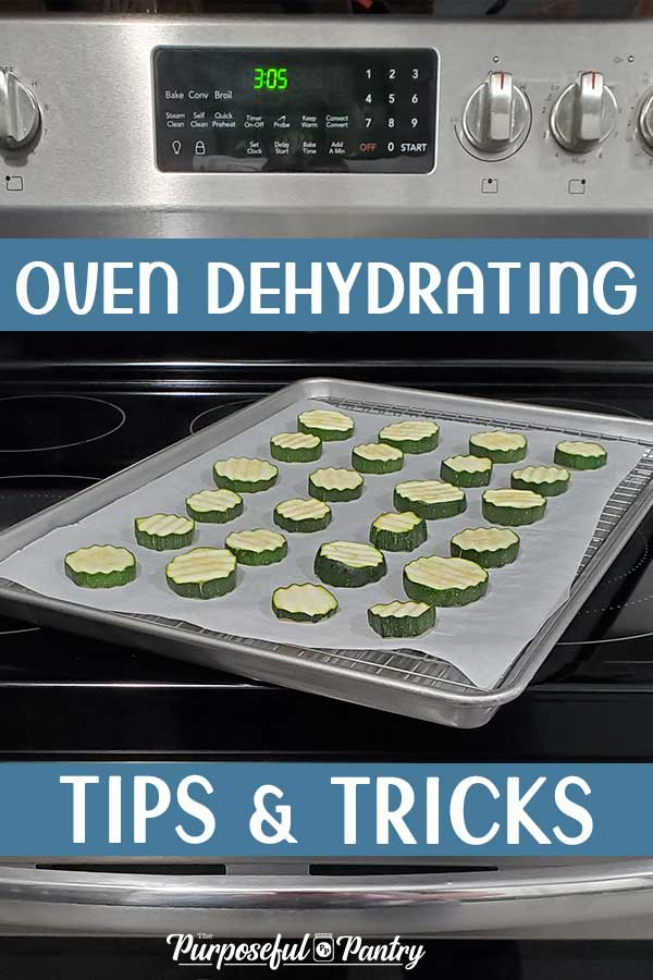 Oven with a tray of zucchini being prepared to dehydrate