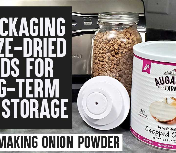 Augason Farms large can of dried onions with Foodsaver jar attachment