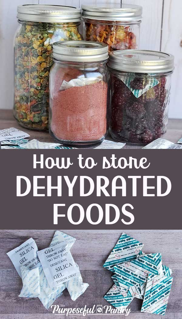 Dehydrated foods in mason jars, moisture and oxygen absorbers
