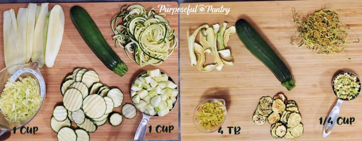 5 different zucchini projects before and after dehydrating