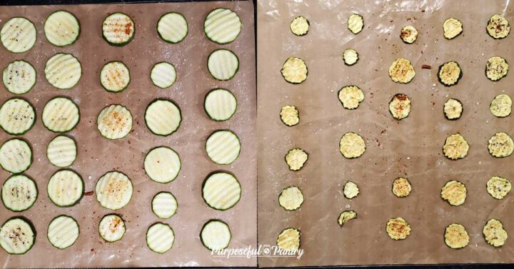 Zucchini chips before and after dehydrating