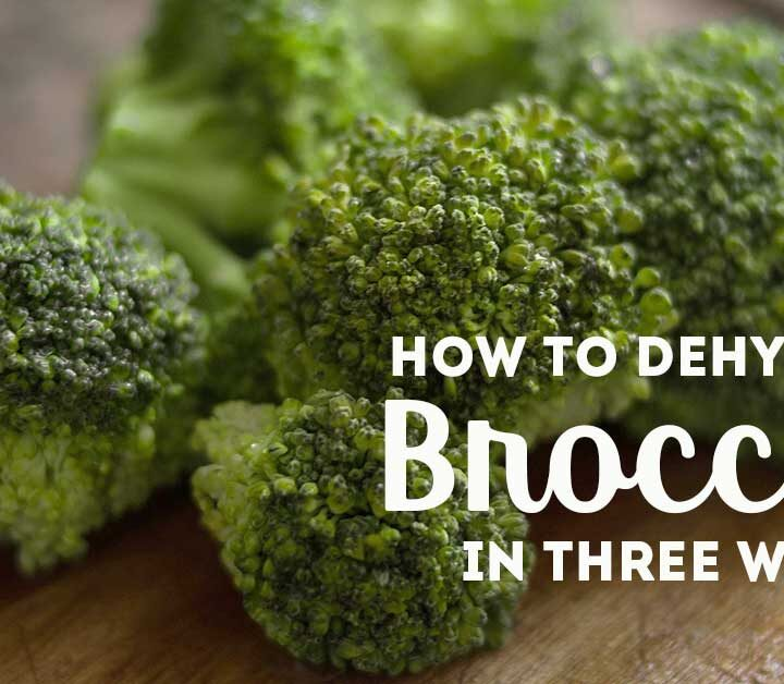 """Broccoli florets on wooden table with text overlay """"Dehydrate Broccoli three ways"""""""