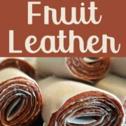 "Strawberry banana fruit leather with text overlay ""Diy Strawberry Banana Fruit Leather"""