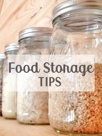 Mason jars full of rice and grains on wooden shelf