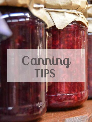 "Canning jars of jam with ""Canning Tips"" text overlay"