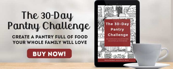 tablet with 30 Day Pantry Challenge book cover on a table with a cup of coffee and buy now text