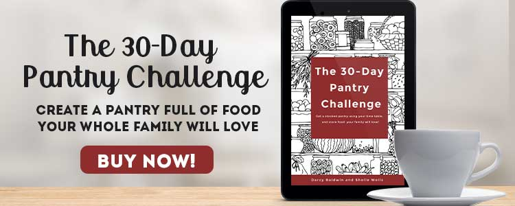 30 Day Pantry Challenge ebook ad. Tablet and a cup of tea with buy it now button