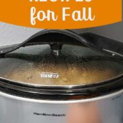 Slow cooker on gray countertop with pumpkin