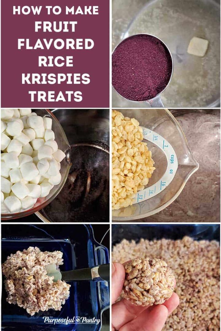 Step by Step photos of how to make blueberry rice krispie treats