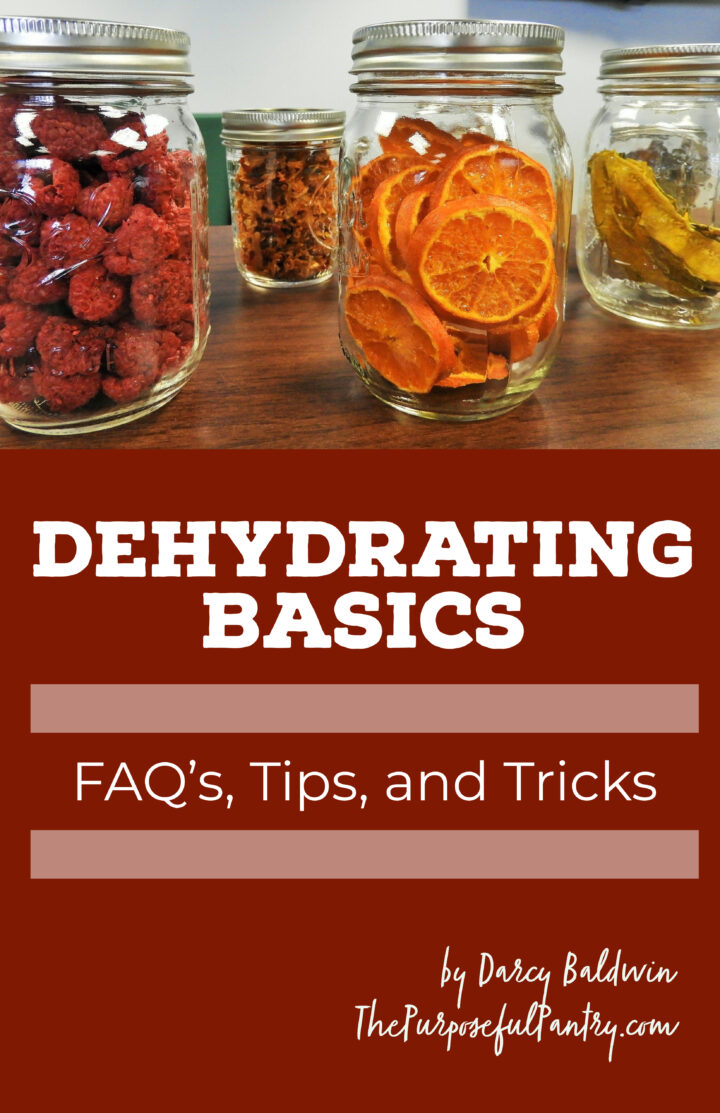 Dehydrating Basics: FAQ's, Tips and Tricks book cover with dehydrated foods in jars