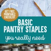 Pantry checklist with assorted cooking ingredients scattered
