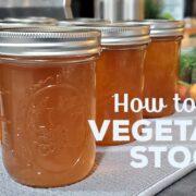 Jars of pressure canned vegetable stock