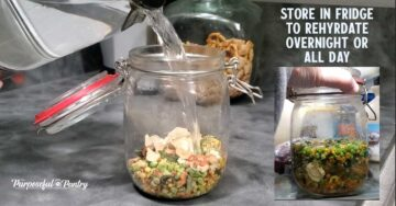 Dehydrated vegetables in a glass container soaking in water to rehydrate
