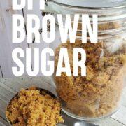 Glass storage jar of homemade brown sugar - metal scoop