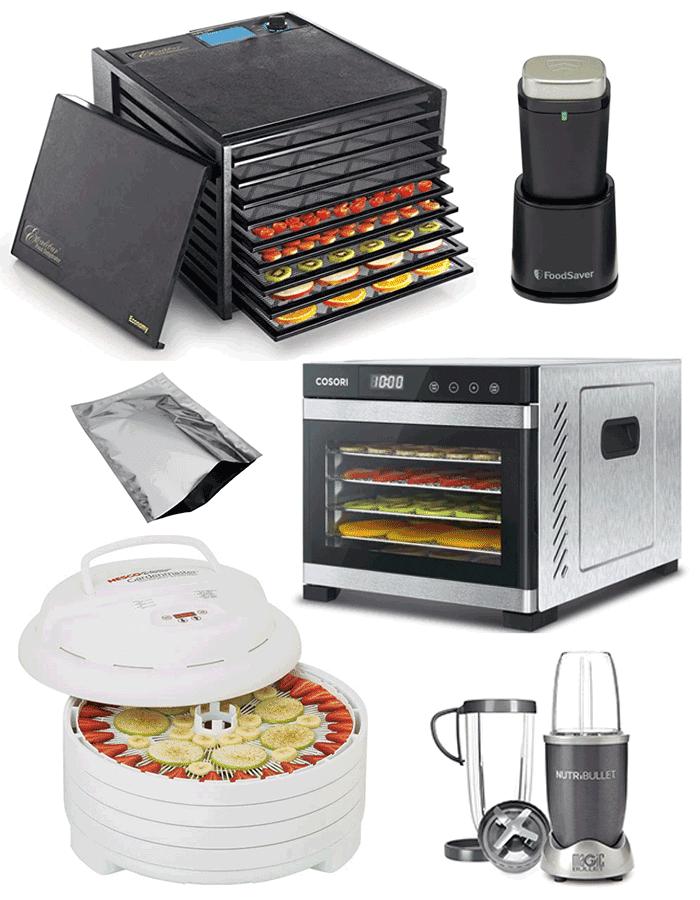 Excalibur dehydrator, foodsaver vacuum sealer, mylar bag, Cosori dehydrator, nesco dehydrator, Nutribullet