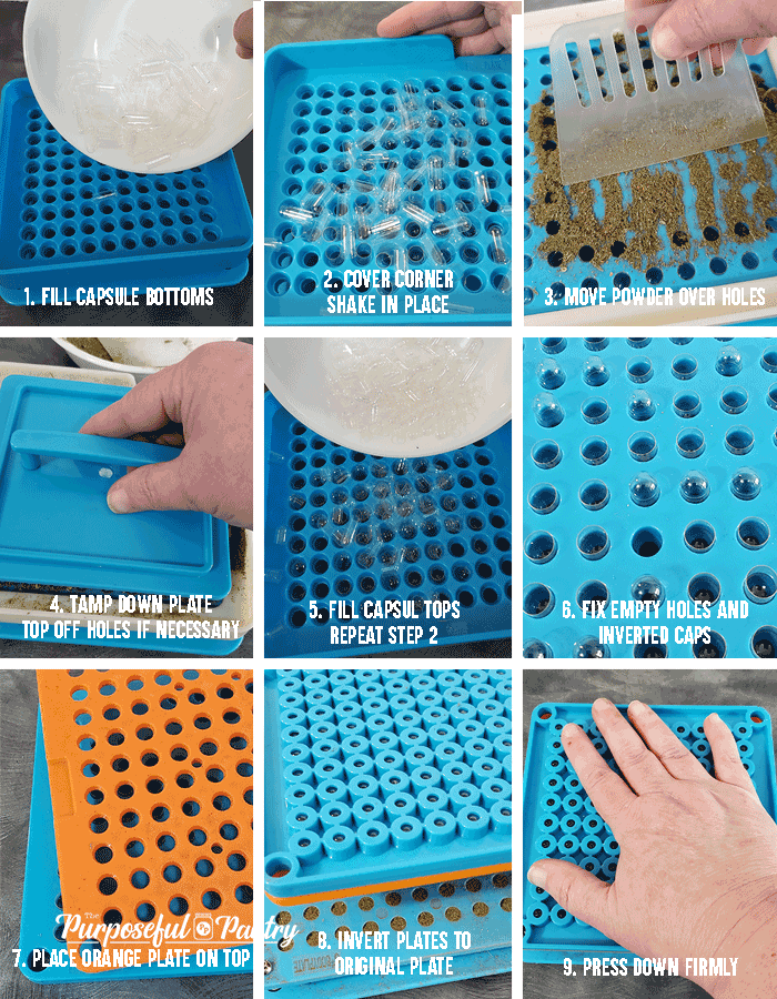 Step by Step grid instructions to fill a capsule machine
