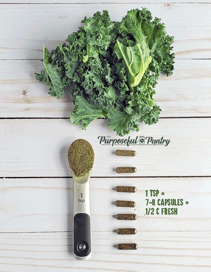 Ratio of fresh to capsule - fresh bunch of kale = 1 tsp powdered greens equals 7-8 capsules