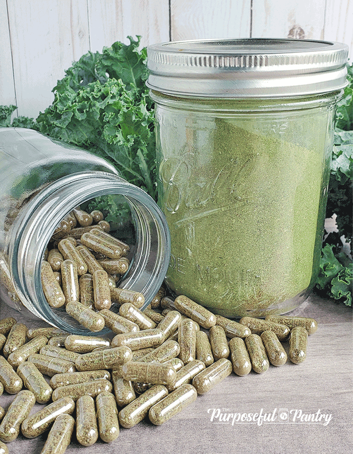 Bottle of vegetable powder capsules spilling in front of jar of dehydrated green powder in front of fresh greens.