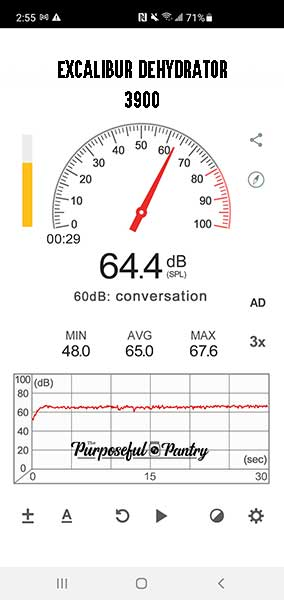 Screenshot using the Sound Meter app showing the decibel level of an Excalibur Dehydrator