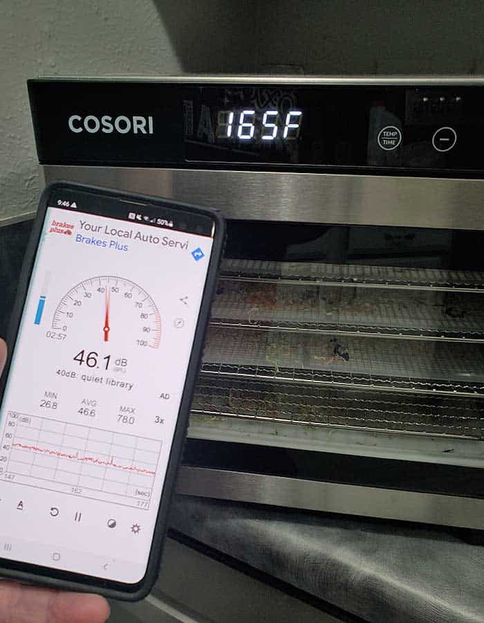 Cosori Dehydrator and the Sound Meter app on a Samsung Galaxy s10 phone to test the decibel level of dehydrator