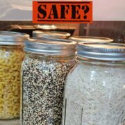 Macaroni, Quinoa and Rice inside mason jars being canned in the oven