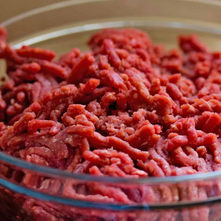 Bowl of ground beef to learn to boil