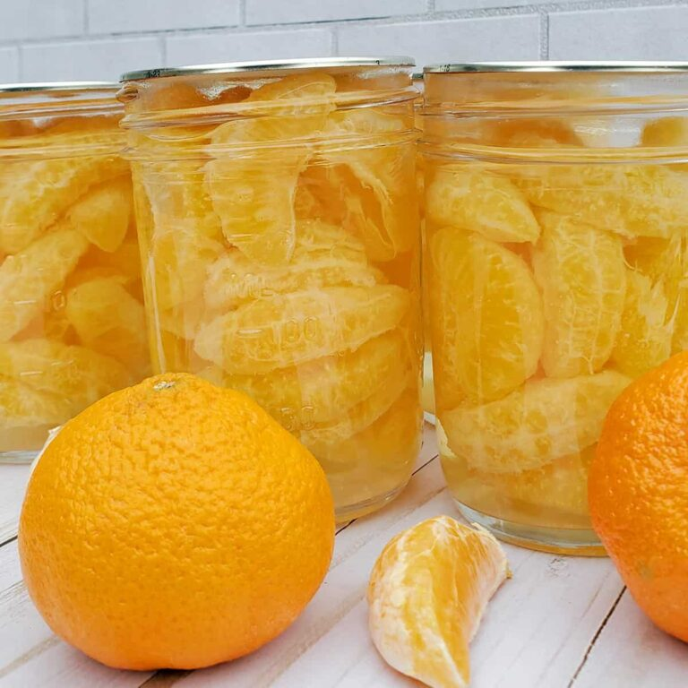Canned jars of madarin organes and a fresh orange.