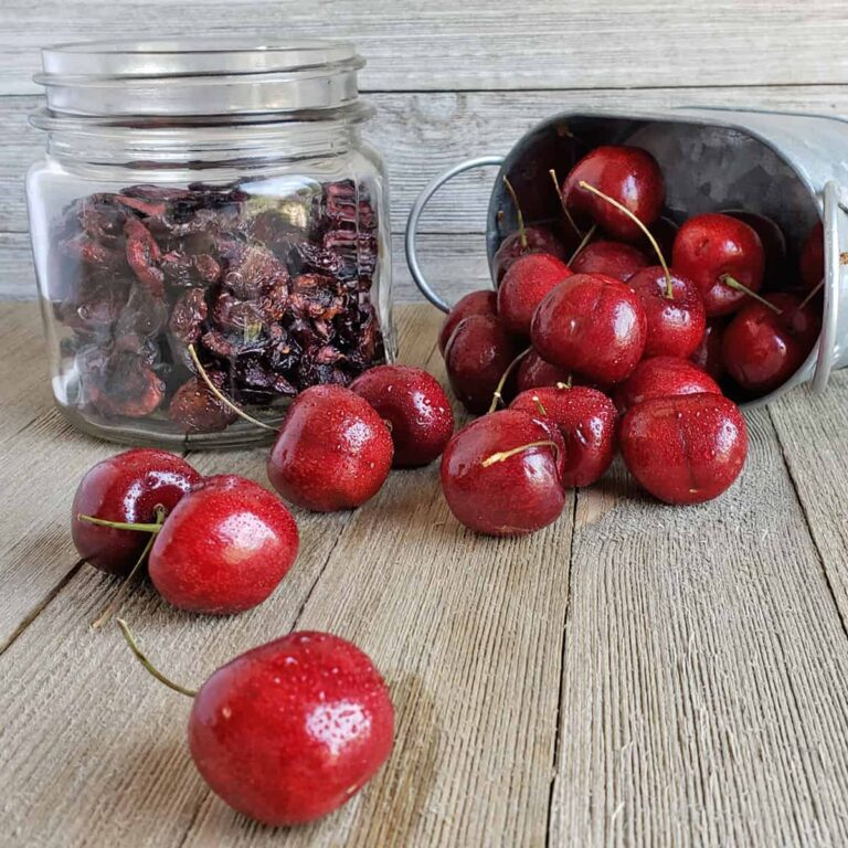 Jar of dried cherries next to fresh cherries spilling from metal container
