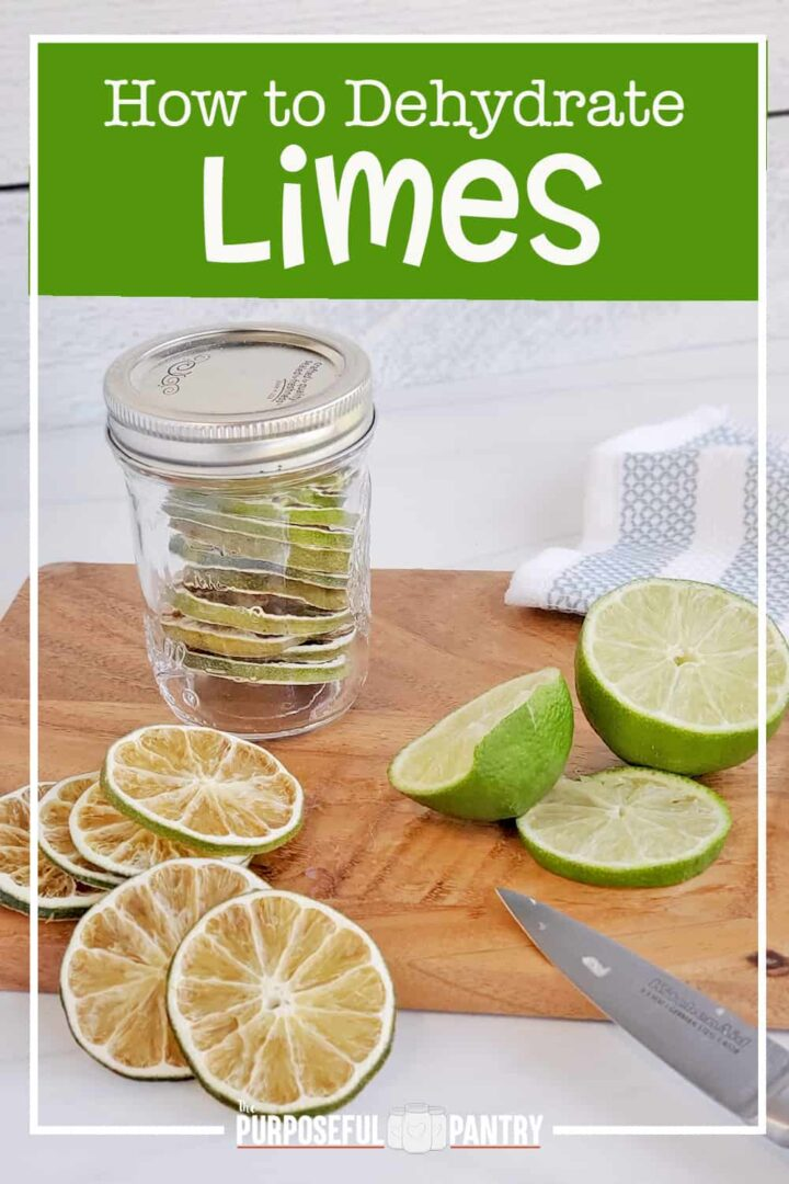 Dehydrated limes in a jar, on a cutting board with freshly cut limes