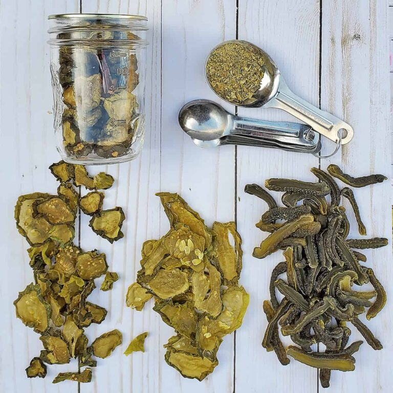 Dehydrated pickles, dehydrated sweet pickles and dehydrated pickle powder in a spoon