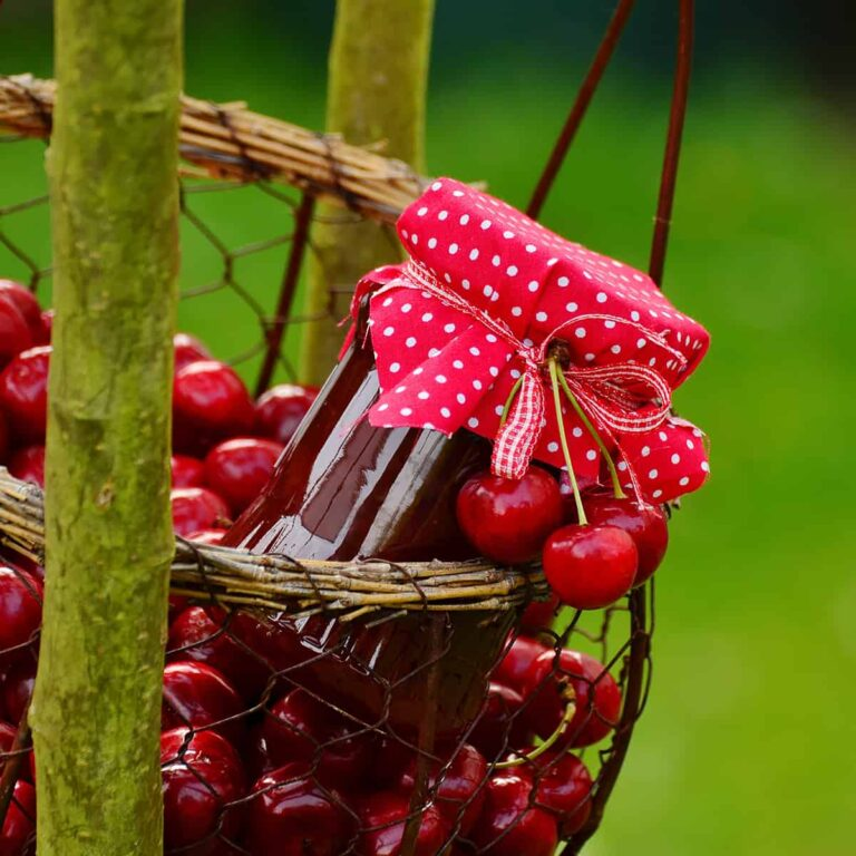 Cherries in a basket with a jar of cherry preserves with a red polka dot fabric cover