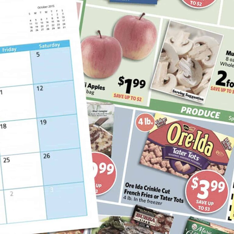 Store sales circular and empty calendar page
