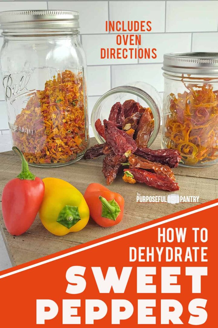 Mason jars of dehydrated sweet pepper dices, slices and whole on a wooden surface with fresh peppers in the foreground