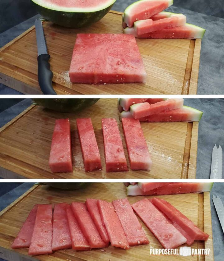 Cutting fresh watermelon into slabs in 3 steps for dehydrating