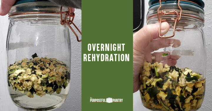 Overnight rehydration before and after of a jar of dehydrated zucchini