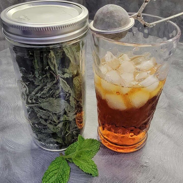 Dried mint in a jar with a glass of iced tea and a tea infuser full of dried mint for flavoring